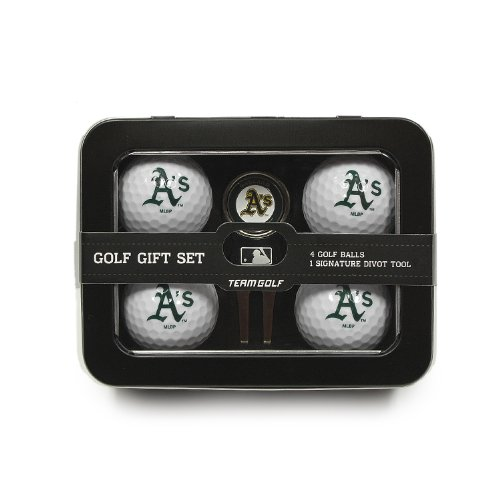 Team Golf MLB Oakland Athletics Regulation Size Golf Balls (4 Count) & Divot Tool with Removable Double-Sided Magnetic Marker (Oakland Athletics Gift)