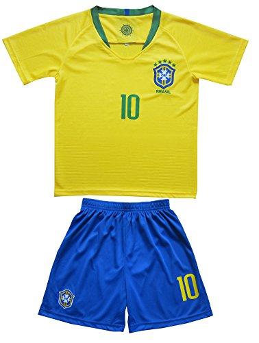 33ad8e1b3 KID BOX New Brazil  10 NEYMAR JR. Kids Home Soccer Jersey   Shorts Socks