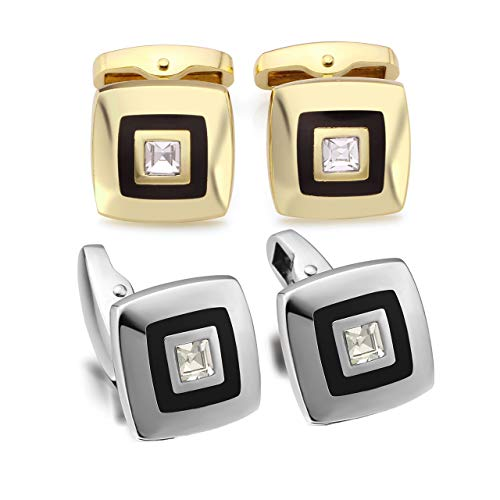Zysta 2 Pairs Gold Silver Luxury Elegant Cufflinks Set Rhinestone Classic Square Cuff Link Tuxedo Business Wedding Back Closure Engraving Customized