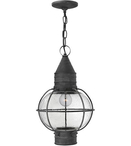 Outdoor Pendant 1 Light with Aged Zinc Clear Seedy Solid Aluminum Medium Base 11 inch 100 Watts