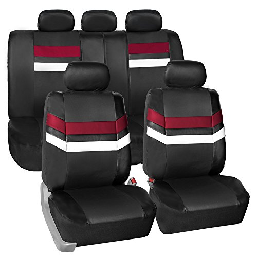 (FH Group Leather Full Set Seat Covers Burgundy Airbag Safe PU006BURGUNDY115 & Split Bench Ready)