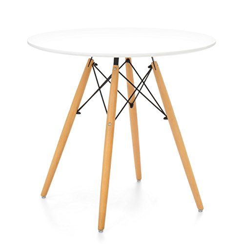 Best Choice Products Mid Century Modern Eames Style Round Dining Table w/Wood Legs and White Tabletop by Best Choice Products