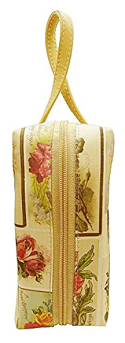 Coated Canvas Gold Leather (BDJ Printed Italian Silk Canvas Cosmetic Toiletry Portable Rectangle Purse Pouch Bag (Flower))