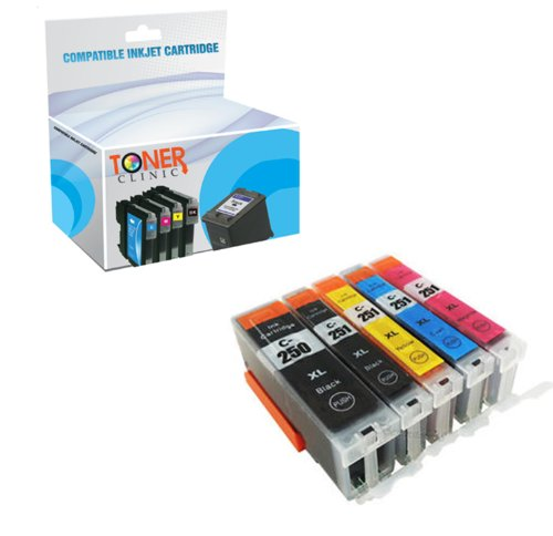 5 Pack Compatible Canon PGI-250 XL CLI-251 XL HIGH CAPACITY, 1 PGI-250XL Black 1 CLI-251XL Black 1 CLI-251XL Cyan 1 CLI-251XL Magenta 1 CLI-251XL Yellow, 5PK Compatible Inkjet Cartridge for Canon PIXMA MG5420, PIXMA MG5450, PIXMA MG6320, PIXMA MG6350, PIX