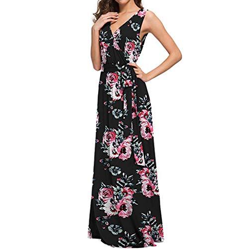 (❤️Sumeimiya Womens Bohemian Dress, Printed Maxi Beach Dresses Sleeveless Casual Long Dresses Dresses Black)