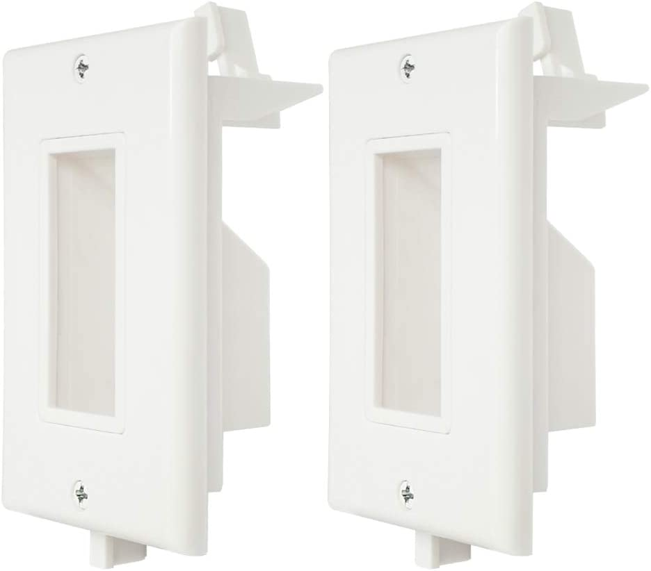 Recessed Wall Plate WI1009-2 2 Pack Decotive Wall Plate with Fly Mounting Wings Bottom Opening for Low Voltage Cable Pass Through