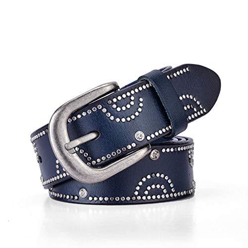 GOP Store Womens Genuine Leather Belt Punk Rhinestone Rivets Luxury Belts for Women Female Belt