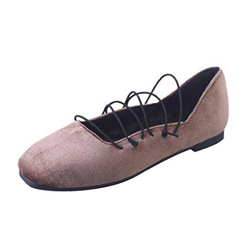 Beste Tijd Vrouwen Elastische Geperforeerde Ballet Flats Kaki