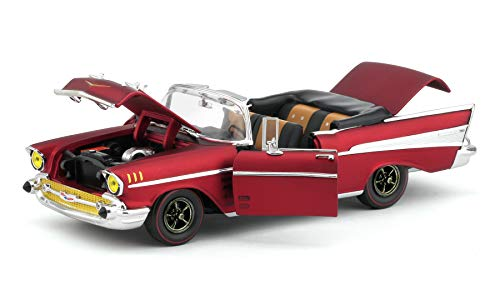 1957 Chevrolet Bel Air Convertible Satin Red Auto-Mods Limited Edition to 5,880 Pieces Worldwide 1/24 Diecast Model Car by M2 Machines 40300-68 B