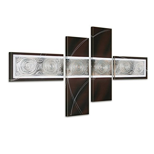 Noah Art Large Abstract Black Art, 100 Hand Painted Brown and Silver Metallic Modern Abstract Oil Paintings on Canvas, 4 Piece Ready to Hang Framed Abstract Wall Art for Living Room Wall Decor