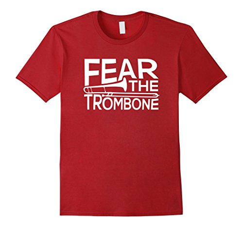 Mens Fear the Trombone Funny T Shirt for Musicians, Band Members Large ()