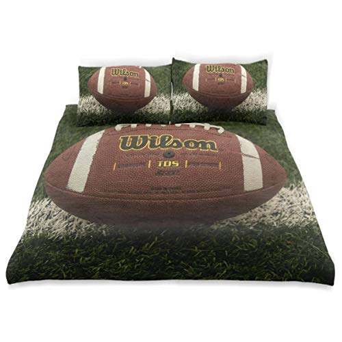 (American Football On Field Twin Bedding Duvet Cover Set 3 Piece Microfiber Down Comforter Quilt Cover with Zipper Closure + 2 Pillowcase for Kids 66
