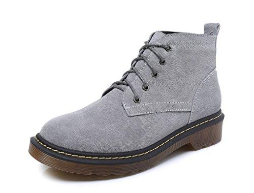 Booties Boot Low Women's Lace 21Grey Up Flat Ankle Pointed Heel CAMSSOO Zip Toe xgRCqwdRP