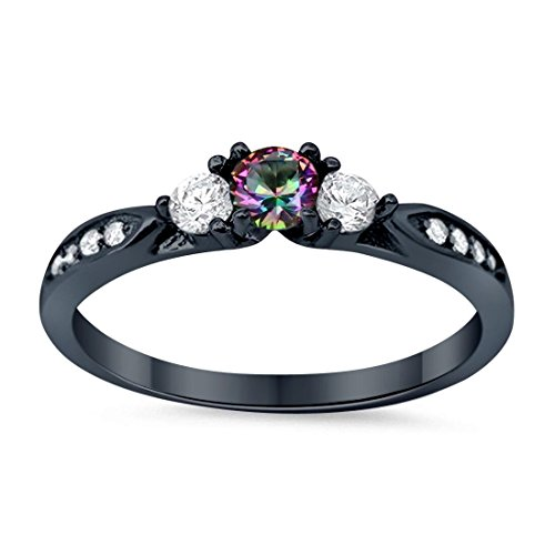 3-Stone Wedding Engagement Ring Simulated Rainbow Topaz Round Cubic Zirconia Three Stone Black Tone 925 Sterling Silver, Size-5