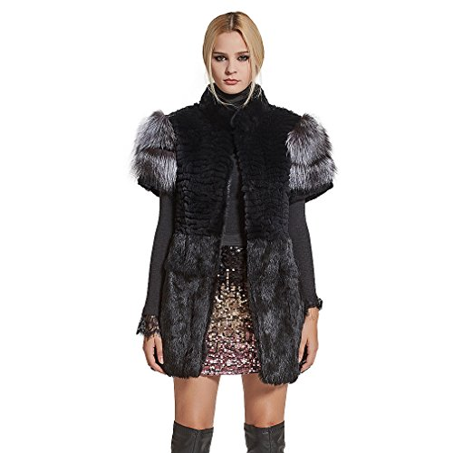 Fur Story Women's Long Real Rex Rabbit Fur Vest with Silver Fox Fur Cuff Short Sleeve Stand up Collar (US14) (Genuine Rabbit Fur Vest)