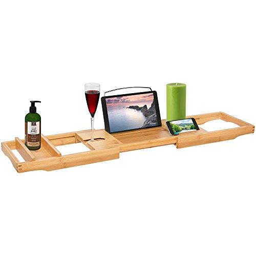 Mejor elección productos bambú para tina de ducha tina bandeja organizador w/longitud ajustable