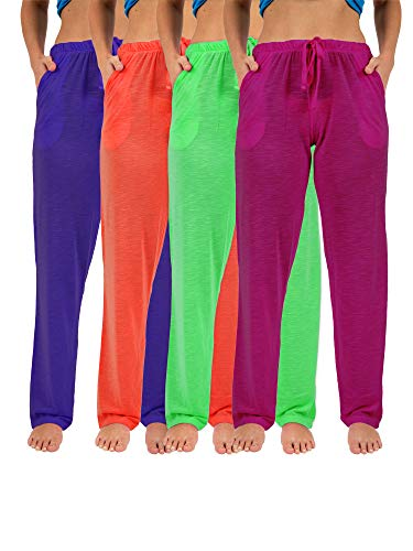 Sexy Basics Women's 4 Pack Casual Active Relaxed Flowy Fit Lounge & Yoga Pants (4 Pack-Neon- Green/Purple/Red/PinkFuschia, Large)
