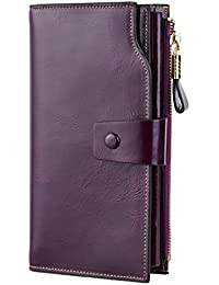 Billetera de cuero genuino, larga bloqueador RFID, de lujo, organizador de tarjetas, para mujer