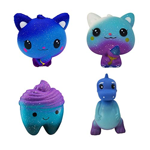 DDLmax 4PCS Squishies Slow Rising Ice Cream Cat Teeth Dinosaur Jumbo Squishy Kids Toy Kawaii Animal Party Supply