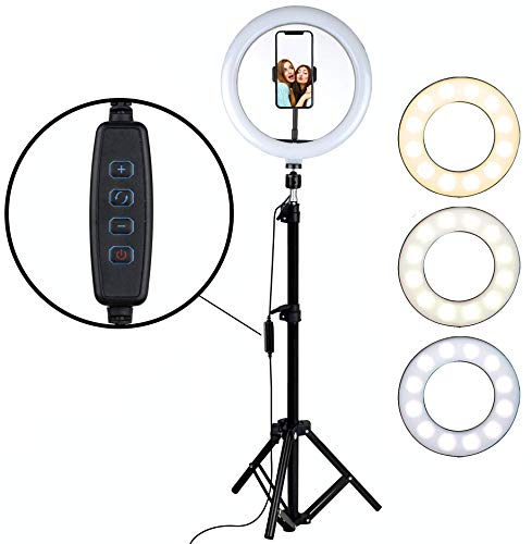HOTNIX Big Selfie Ring Light with Tripod Stand   LED Ring Light with Phone Holder Dimmable Makeup Light for Photos Videos – 12 Inch