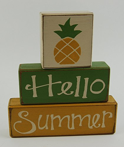 Hello Summer - Pineapple - Primitive Country Distressed Wood Stacking Sign Blocks Seasonal Holiday Summer Spring Home Decor