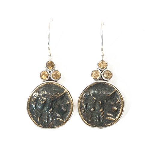 (Ancient Roman Bust Replica Coin Citrine Sterling Silver Earrings - 1.5 inches Long Handmade Earrings by Miller Mae Designs)