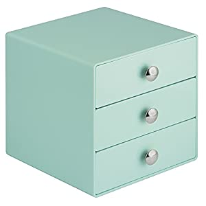 InterDesign 3-Drawer Storage Organizer for Cosmetics, Makeup, Beauty Products or Kitchen/ Office Supplies, Mint