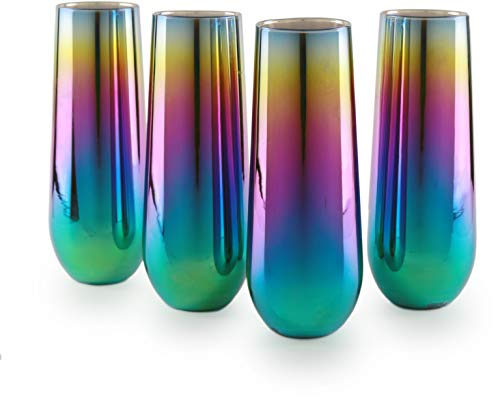Circleware 76875 Rainbow Champagne Flutes Stemless Wine Glasses, Set of 4, Party Entertainment Dining Beverage Drinking Glassware Cups for Water, Liquor, Whiskey, Juice, Decor Gifts, 10.5 oz, Fusion ()