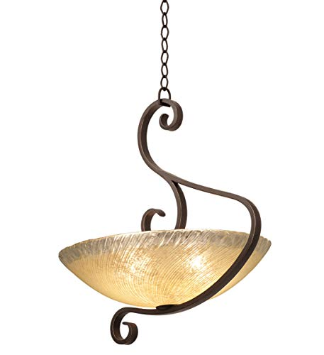 (Pendants 3 Light Bulb Fixture with Country Iron Finish Hand Forged Iron and Glass E26 23