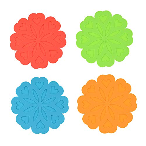 Silicone Flower Trivet Mat, Multi-Use for kitchen mats, table mats, Drink Coaster, dish mats, Pot Holders, Jar Opener, Spoon Rest and Kitchen Trivet, Insulated Flexible Durable Non Slip Hot Pads ()