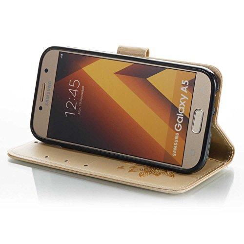 Funda Samsung Galaxy A5 2017, Cáscara Samsung Galaxy A5 2017, Alfort Casco de Protección PU La alta calidad de la caja del cuero Repujado Doble Cara Carcasa del teléfono con una función de soporte y l Media Flor Oro