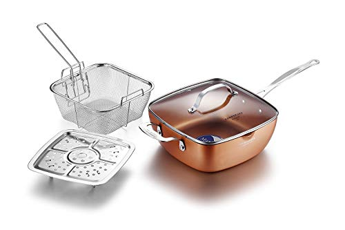 Cooksmark Copper Pan 9.5-Inch Nonstick Deep Square Induction Fry Pan with stainless steel Fry Basket, Steamer Rack, glass lid, Dishwasher Safe Oven Safe 4 PCS cookware set