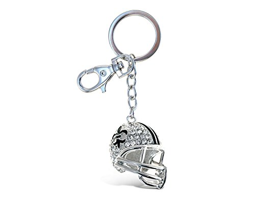 Puzzled Elegant Metal Ring Sparkling Sports Football Helmet Charms Keychain Rust Resistant Alloy & Crystals Keyring Unique Backpack Handbag Purse Mobile Bling-Bling Decoration Gadgets Accessories ()