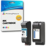 Printing Pleasure 2 (FULL SET) Remanufactured Ink Cartridges Replacement for HP 15 78 Deskjet 3810 3820 815c 920c Officejet 5110 V30 V40 V45 PSC 700 720 750 760 900 950 - Black/Colour, High Capacity