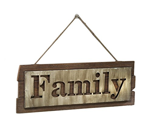 FAMILY Metal Sign on a Wood Board - Farmhouse Rustic Wall Art Décor, 24