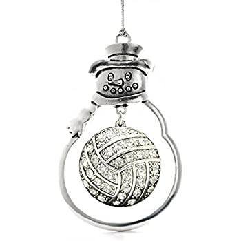 Amazon.com: Inspired Silver Volleyball Pave Heart Holiday Christmas ...