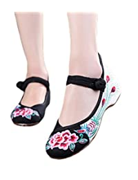 AvaCostume Peony Embroidery Oxfords Sole Mary Jane Shoes