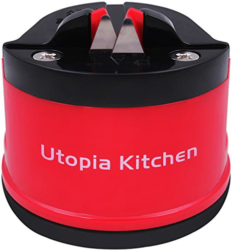 Professional Knife Sharpener - Remarkably Effective - Easy Application - With Suction Pads - Tough Tungsten Steel - by Utopia Kitchen