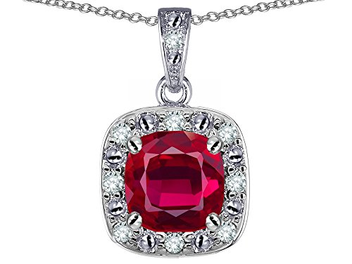 Star K 14k White Gold Cushion Created Ruby Halo Pendant Necklace (14k Ruby Slide)