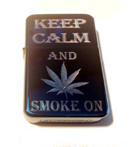 Vector KGM Thunderbird Custom Lighter - Keep Calm and Smoke on Marijuana Weed POT Leaf Ganja Logo Sparkle Blue ICE High Polish Chrome Rare!