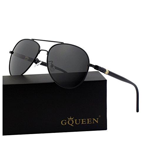 aviador 2 polarizadas refleja Premium de Gris Negro gafas el MZZ9 completa GQUEEN sol wx4I8wC