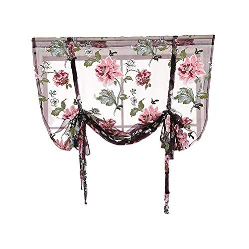 Celiy  Rod Liftable Kitchen Bathroom Window Roman Curtain Floral Sheer Voile Valances