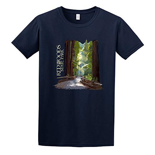 Redwoods State Park, California - Pathway in Trees - Contour (Navy Blue T-Shirt Small)