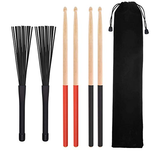 Da by Drumsticks Set 2 Pair Non-Slip 5A Drum Sticks Classic Maple Wood, 1 Pair Retractable Jazz Drum Brushes with a velvet drawstring bag ()