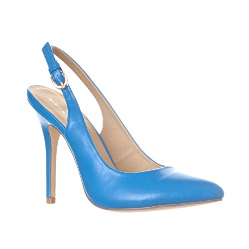 Riverberry Women's Lucy Pointed-Toe, Sling Back Pump Stiletto Heels, Blue PU, 7.5