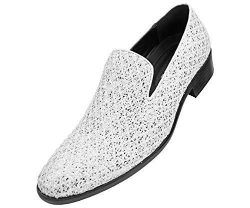 Bolano Mens Metallic Sparkling Lattice Glitter Tuxedo Slip on Smoking Slipper Dress Shoe, Style Sarlo, Runs Large Size 1/2 Size Down (Buckle White Metallic Rhinestone)