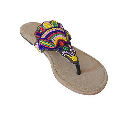 kalra Creations Mujer Tradicional Indio Étnico De Terciopelo Zapatos Flats Marrón - marrón