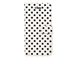 Euroge Tech® Polka Dot PU Leather Standing Case For iPhone 5 (White)