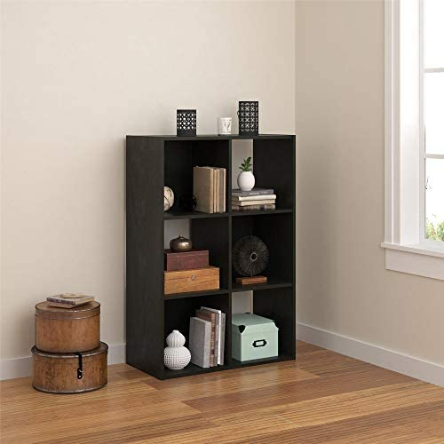Ameriwood Basics Collection Tally 6 Cube Bookcase in Black Oak