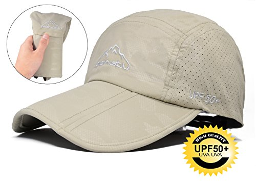 ELLEWIN Baseball Cap Quick Dry Travel Hats UPF50+ Cooling Portable Sun Hats for Sports Golf Running Fishing Outdoor Research with Foldable Long Large Bill, C-khaki, ()